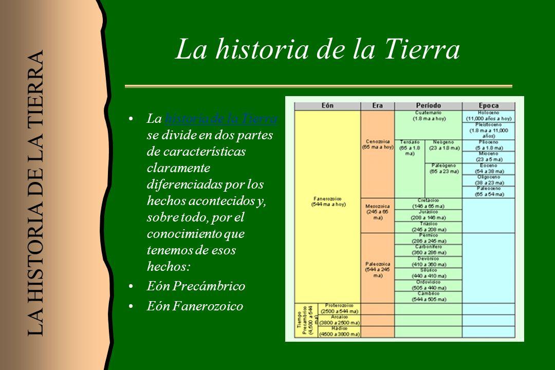 La historia de la Tierra La historia de la Tierra se divide en dos partes de características claramente diferenciadas por los hechos acontecidos y, so