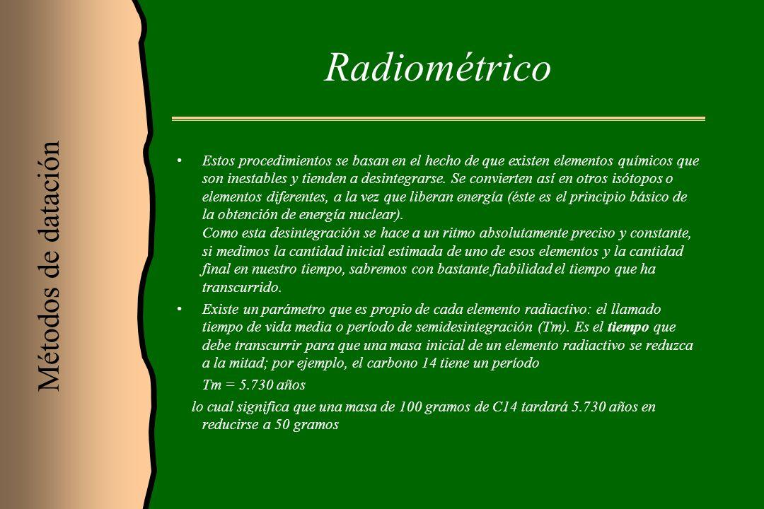 Radiométrico Estos procedimientos se basan en el hecho de que existen elementos químicos que son inestables y tienden a desintegrarse. Se convierten a