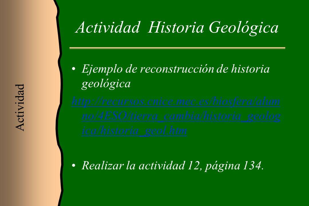 Actividad Historia Geológica Ejemplo de reconstrucción de historia geológica http://recursos.cnice.mec.es/biosfera/alum no/4ESO/tierra_cambia/historia