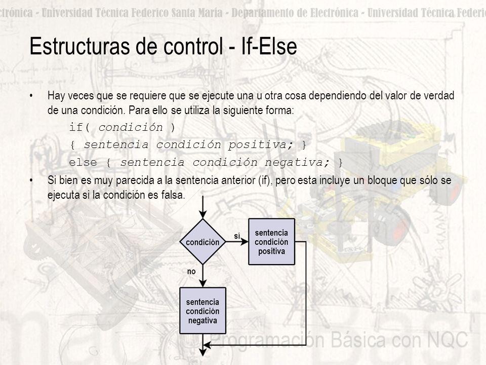 Estructuras de control - If-Else Hay veces que se requiere que se ejecute una u otra cosa dependiendo del valor de verdad de una condición.
