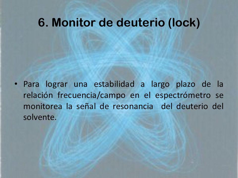 6. Monitor de deuterio (lock) Para lograr una estabilidad a largo plazo de la relación frecuencia/campo en el espectrómetro se monitorea la señal de r