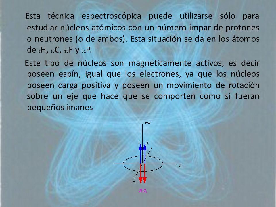 Esta técnica espectroscópica puede utilizarse sólo para estudiar núcleos atómicos con un número impar de protones o neutrones (o de ambos). Esta situa