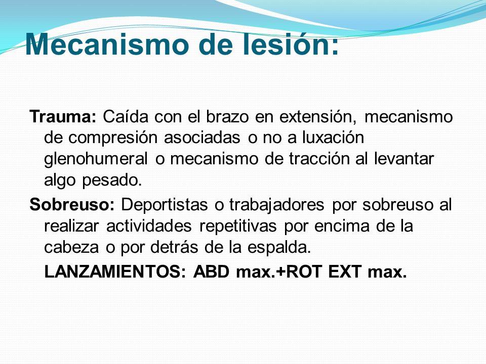 Mecanismo de lesión: Trauma: Caída con el brazo en extensión, mecanismo de compresión asociadas o no a luxación glenohumeral o mecanismo de tracción a