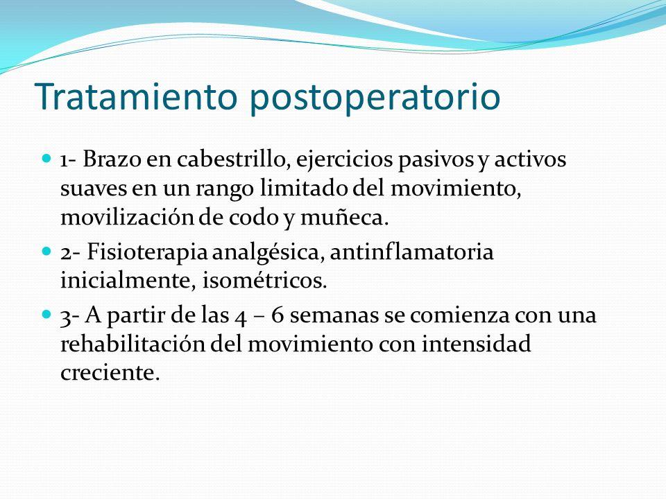 Tratamiento postoperatorio 1- Brazo en cabestrillo, ejercicios pasivos y activos suaves en un rango limitado del movimiento, movilización de codo y mu