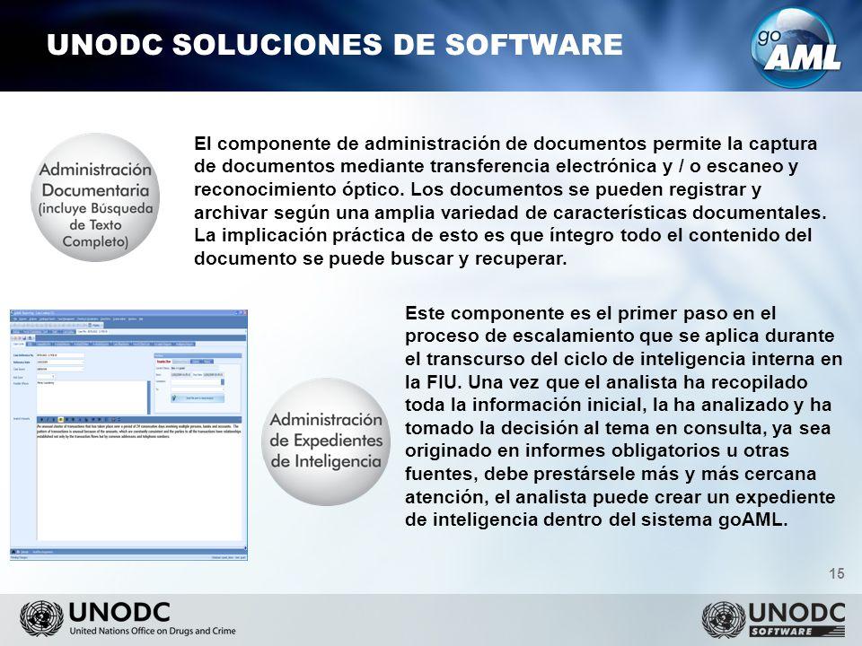 15 UNODC SOLUCIONES DE SOFTWARE El componente de administración de documentos permite la captura de documentos mediante transferencia electrónica y / o escaneo y reconocimiento óptico.