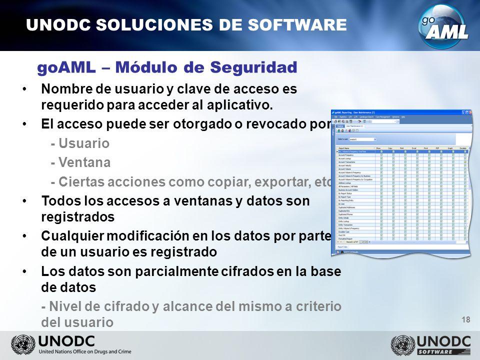18 UNODC SOLUCIONES DE SOFTWARE goAML – Módulo de Seguridad Nombre de usuario y clave de acceso es requerido para acceder al aplicativo.