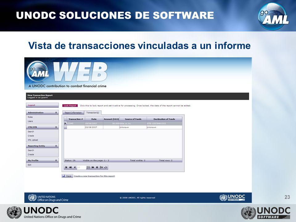 23 UNODC SOLUCIONES DE SOFTWARE Vista de transacciones vinculadas a un informe