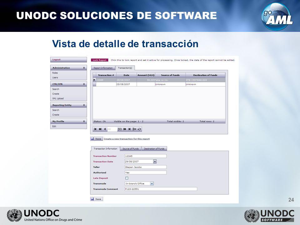 24 UNODC SOLUCIONES DE SOFTWARE Vista de detalle de transacción