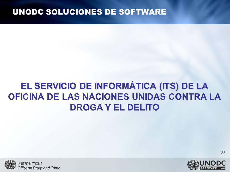 25 UNODC SOLUCIONES DE SOFTWARE EL SERVICIO DE INFORMÁTICA (ITS) DE LA OFICINA DE LAS NACIONES UNIDAS CONTRA LA DROGA Y EL DELITO