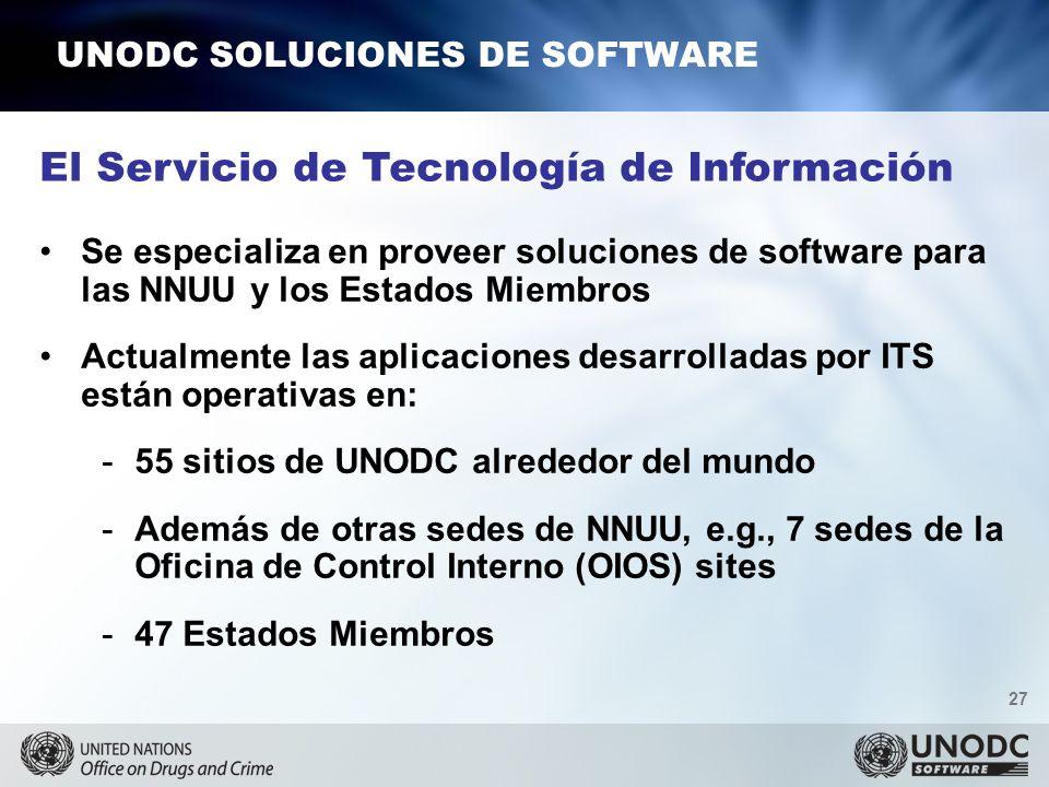27 UNODC SOLUCIONES DE SOFTWARE El Servicio de Tecnología de Información Se especializa en proveer soluciones de software para las NNUU y los Estados Miembros Actualmente las aplicaciones desarrolladas por ITS están operativas en: -55 sitios de UNODC alrededor del mundo -Además de otras sedes de NNUU, e.g., 7 sedes de la Oficina de Control Interno (OIOS) sites -47 Estados Miembros
