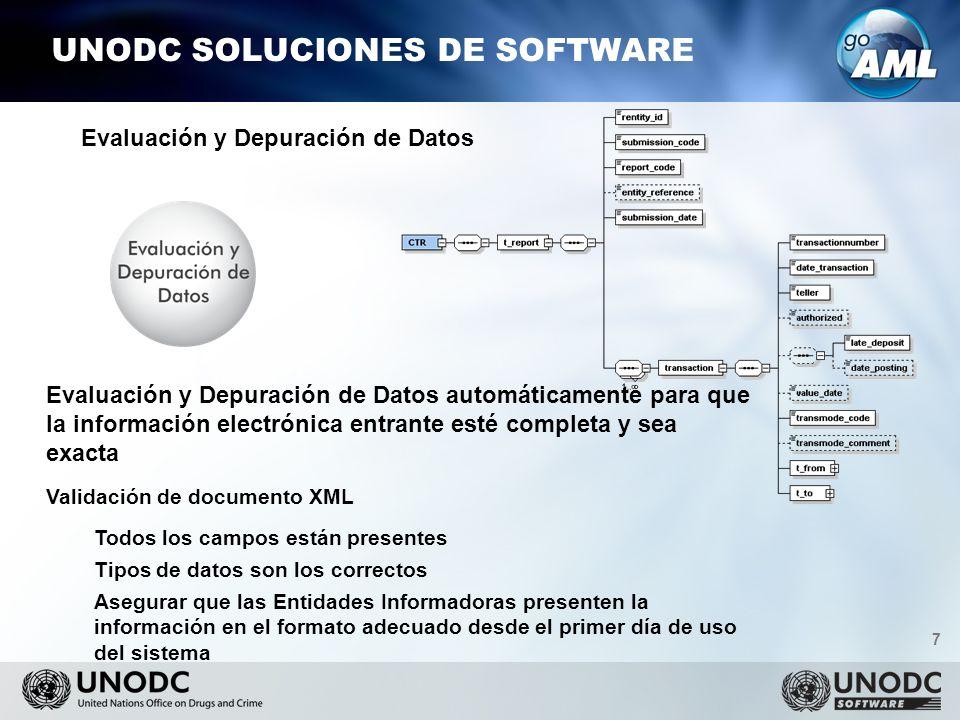 7 UNODC SOLUCIONES DE SOFTWARE Evaluación y Depuración de Datos automáticamente para que la información electrónica entrante esté completa y sea exacta Validación de documento XML Todos los campos están presentes Tipos de datos son los correctos Asegurar que las Entidades Informadoras presenten la información en el formato adecuado desde el primer día de uso del sistema Evaluación y Depuración de Datos