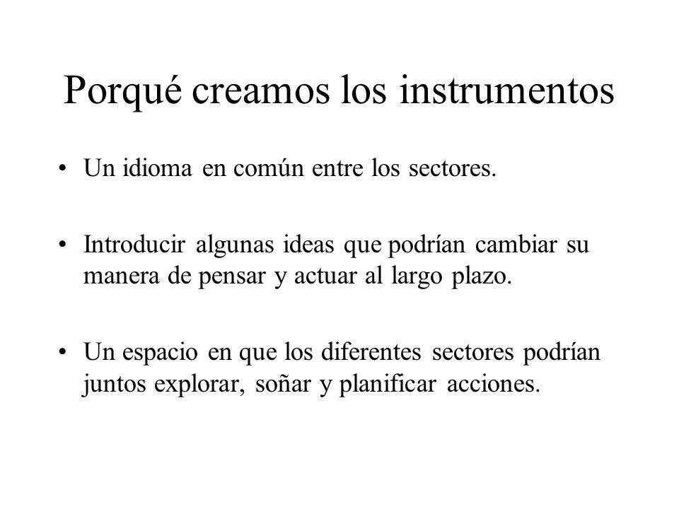 Porqué creamos los instrumentos Un idioma en común entre los sectores. Introducir algunas ideas que podrían cambiar su manera de pensar y actuar al la