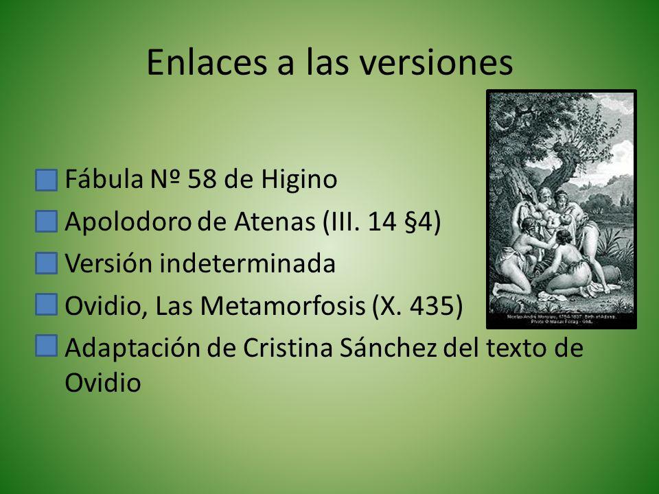 Enlaces a las versiones Fábula Nº 58 de Higino Apolodoro de Atenas (III.