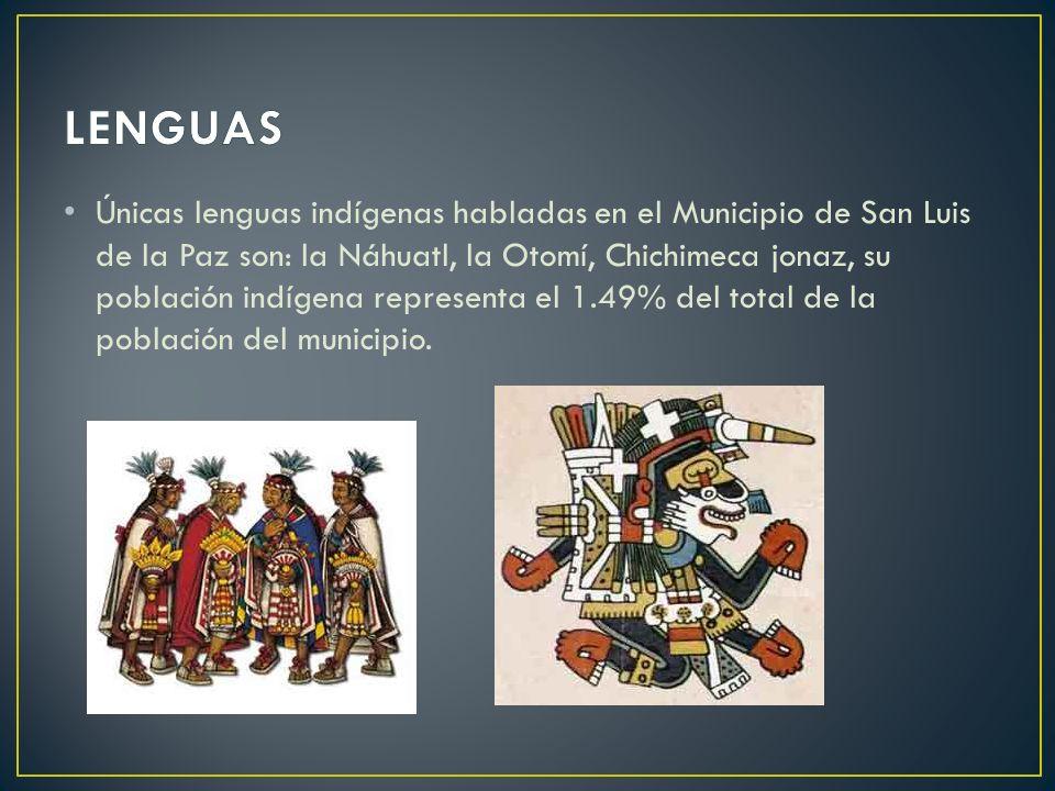 Únicas lenguas indígenas habladas en el Municipio de San Luis de la Paz son: la Náhuatl, la Otomí, Chichimeca jonaz, su población indígena representa