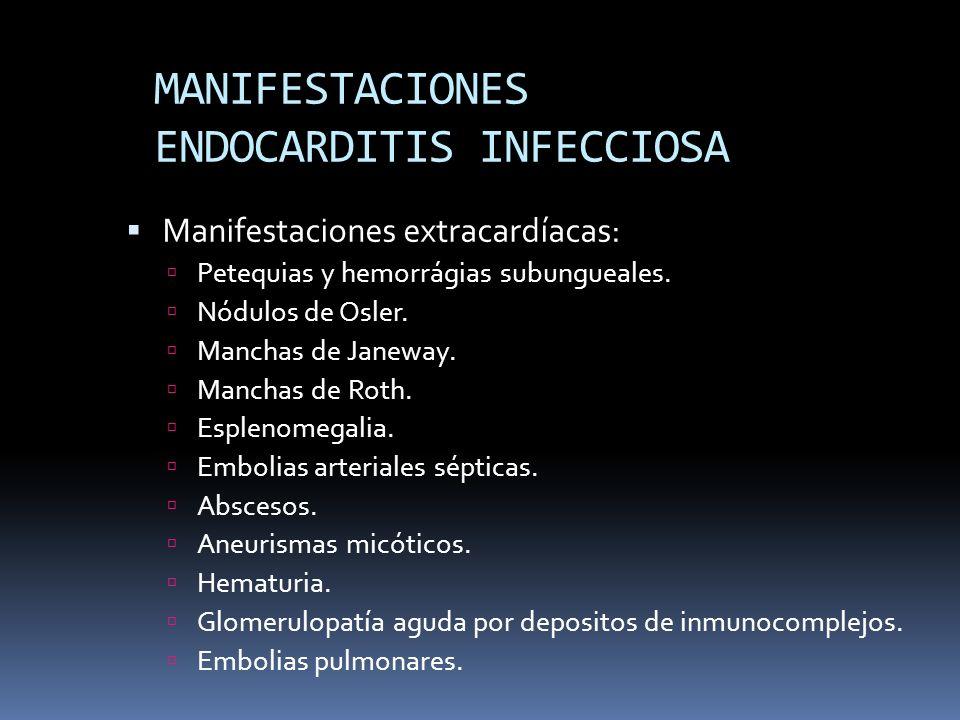 MANIFESTACIONES ENDOCARDITIS INFECCIOSA Manifestaciones extracardíacas: Petequias y hemorrágias subungueales.