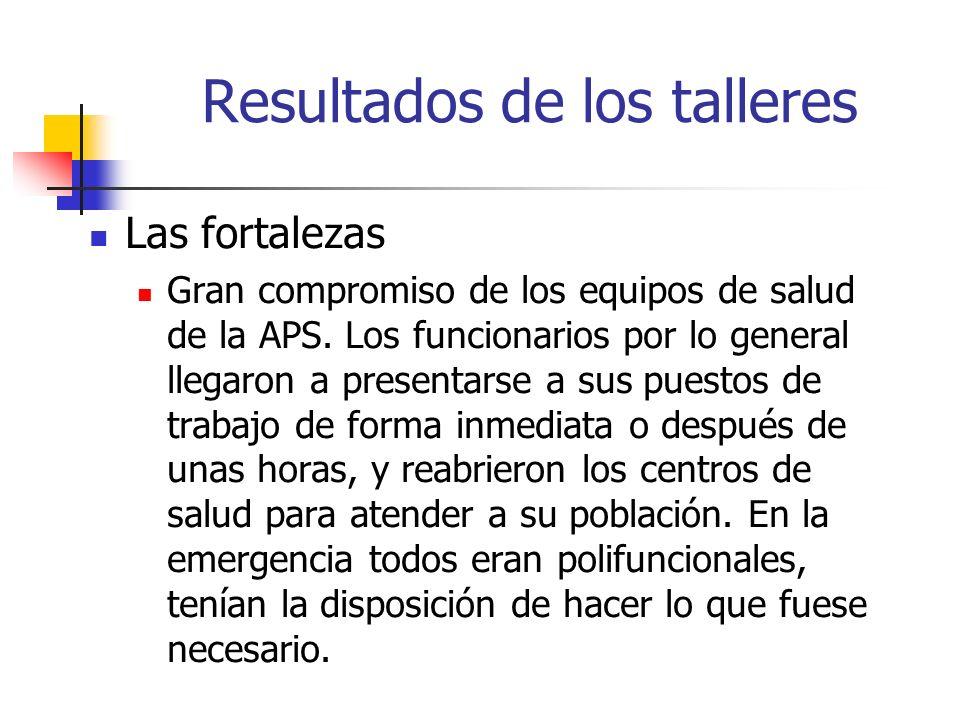 Resultados de los talleres Las fortalezas Gran compromiso de los equipos de salud de la APS. Los funcionarios por lo general llegaron a presentarse a