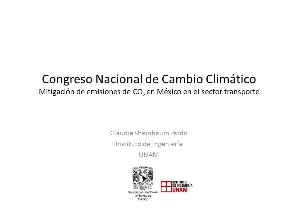Congreso Nacional de Cambio Climático Mitigación de emisiones de CO 2 en México en el sector transporte Claudia Sheinbaum Pardo Instituto de Ingeniería UNAM