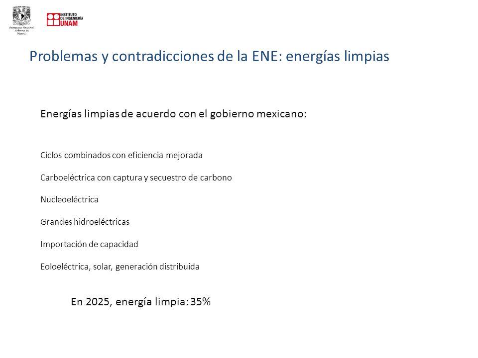 Problemas y contradicciones de la ENE: energías limpias Energías limpias de acuerdo con el gobierno mexicano: Ciclos combinados con eficiencia mejorada Carboeléctrica con captura y secuestro de carbono Nucleoeléctrica Grandes hidroeléctricas Importación de capacidad Eoloeléctrica, solar, generación distribuida En 2025, energía limpia: 35%