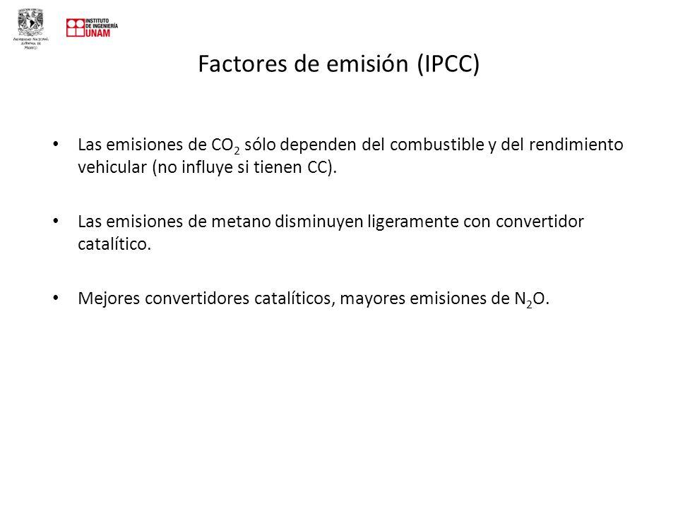 Factores de emisión (IPCC) Las emisiones de CO 2 sólo dependen del combustible y del rendimiento vehicular (no influye si tienen CC).