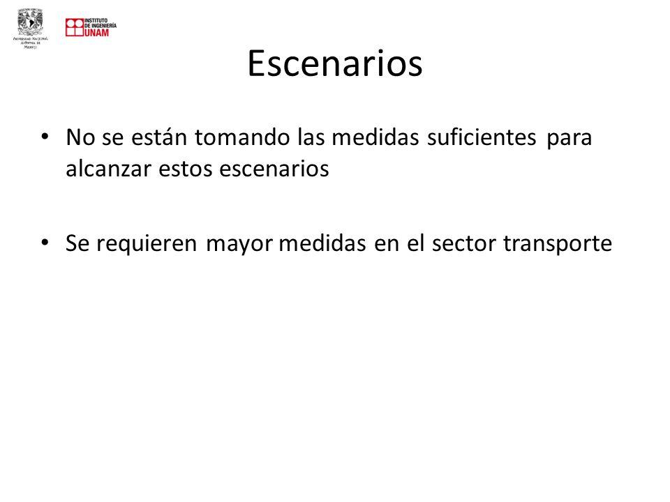 Escenarios No se están tomando las medidas suficientes para alcanzar estos escenarios Se requieren mayor medidas en el sector transporte