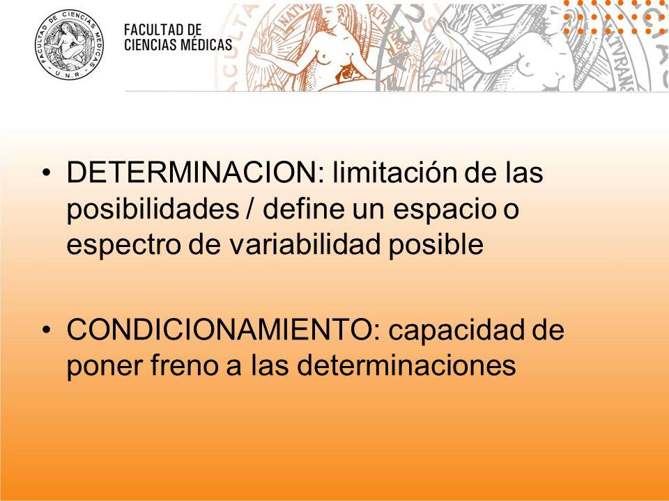 DETERMINACION: limitación de las posibilidades / define un espacio o espectro de variabilidad posible CONDICIONAMIENTO: capacidad de poner freno a las