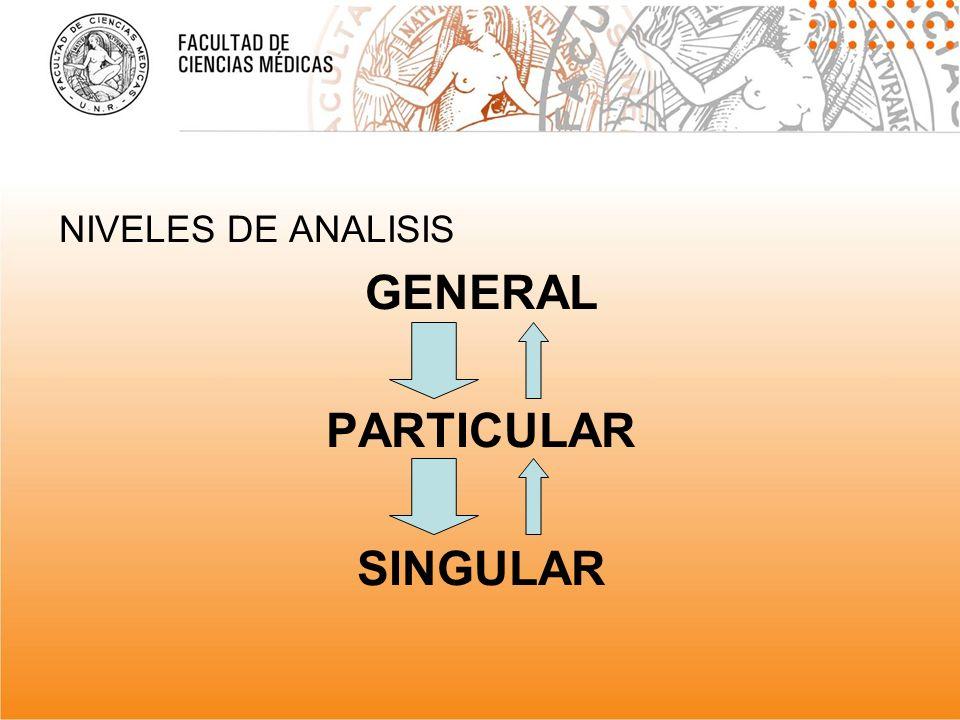 NIVELES DE ANALISIS GENERAL PARTICULAR SINGULAR