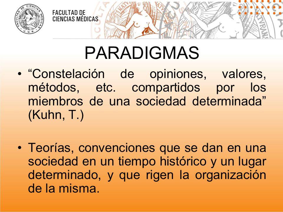 PARADIGMAS Constelación de opiniones, valores, métodos, etc. compartidos por los miembros de una sociedad determinada (Kuhn, T.) Teorías, convenciones