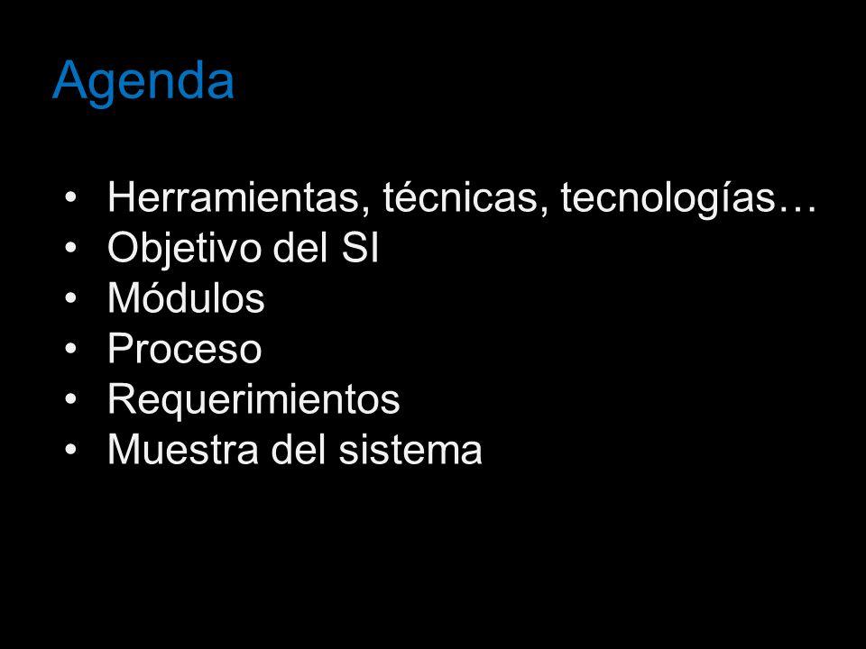 Agenda Herramientas, técnicas, tecnologías… Objetivo del SI Módulos Proceso Requerimientos Muestra del sistema