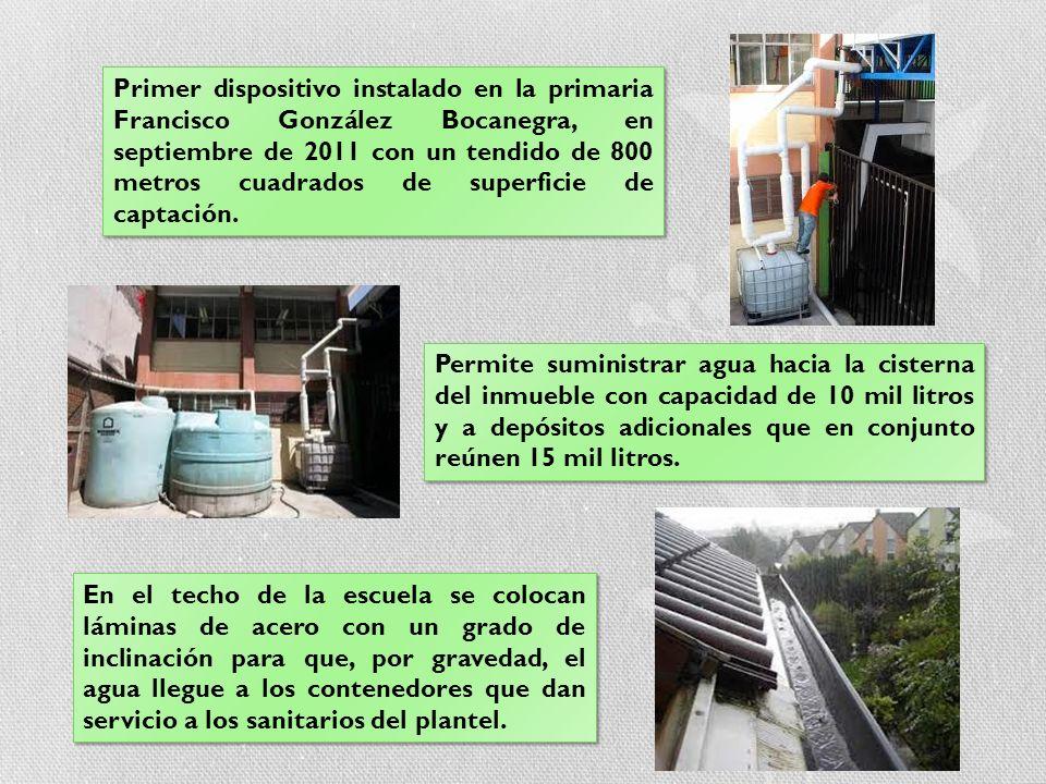 Primer dispositivo instalado en la primaria Francisco González Bocanegra, en septiembre de 2011 con un tendido de 800 metros cuadrados de superficie d