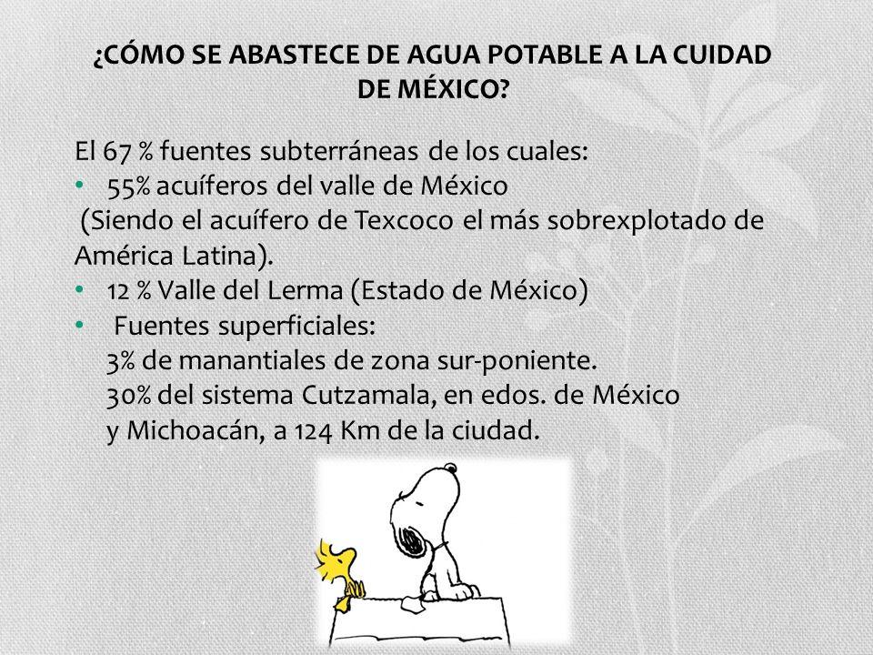 ¿CÓMO SE ABASTECE DE AGUA POTABLE A LA CUIDAD DE MÉXICO? El 67 % fuentes subterráneas de los cuales: 55% acuíferos del valle de México (Siendo el acuí