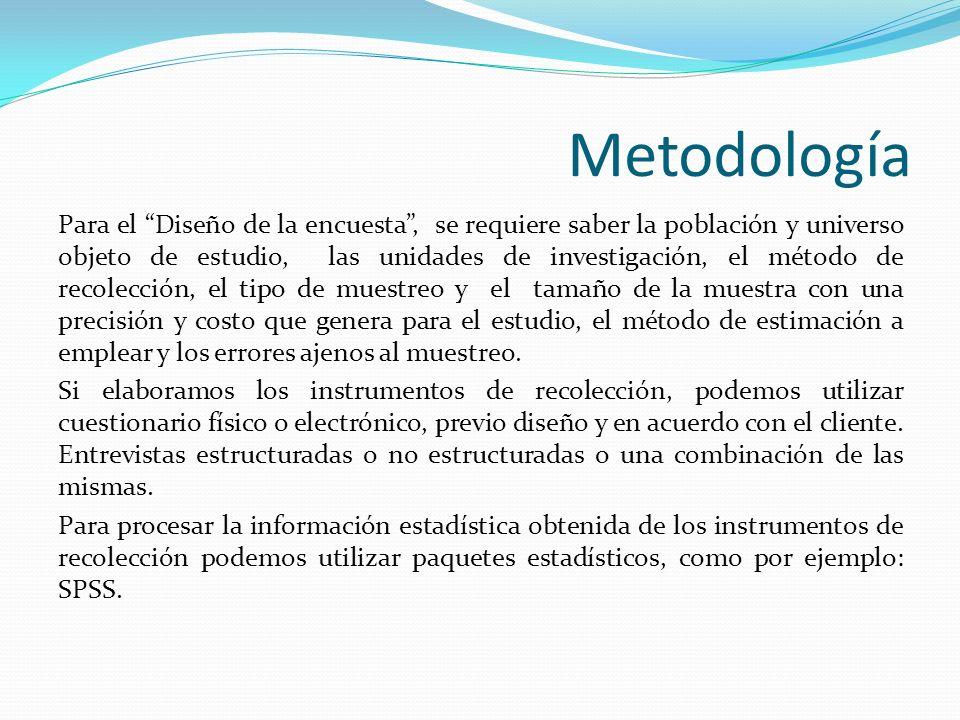 Metodología Análisis de los resultados, para conocer la confiabilidad de la información utilizamos control de calidad de los datos.