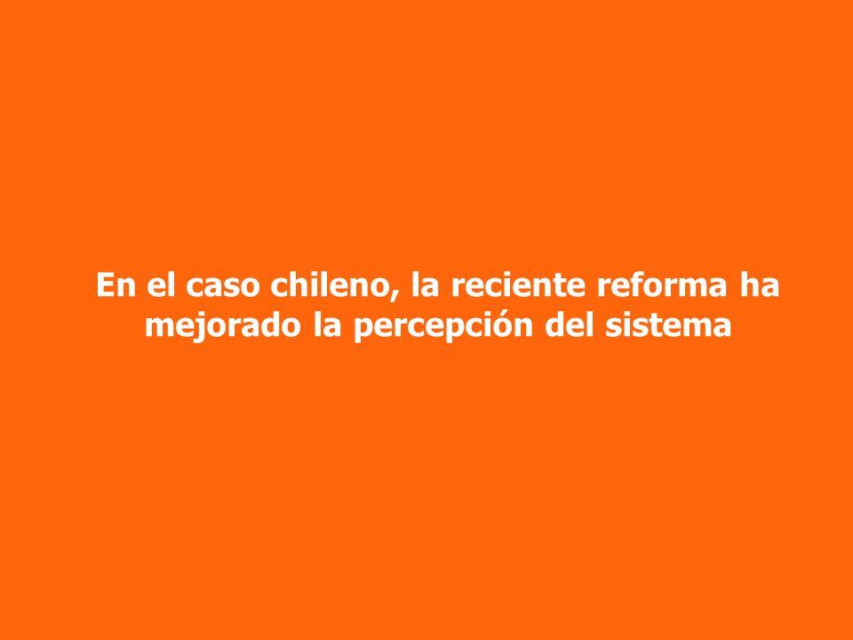 En el caso chileno, la reciente reforma ha mejorado la percepción del sistema