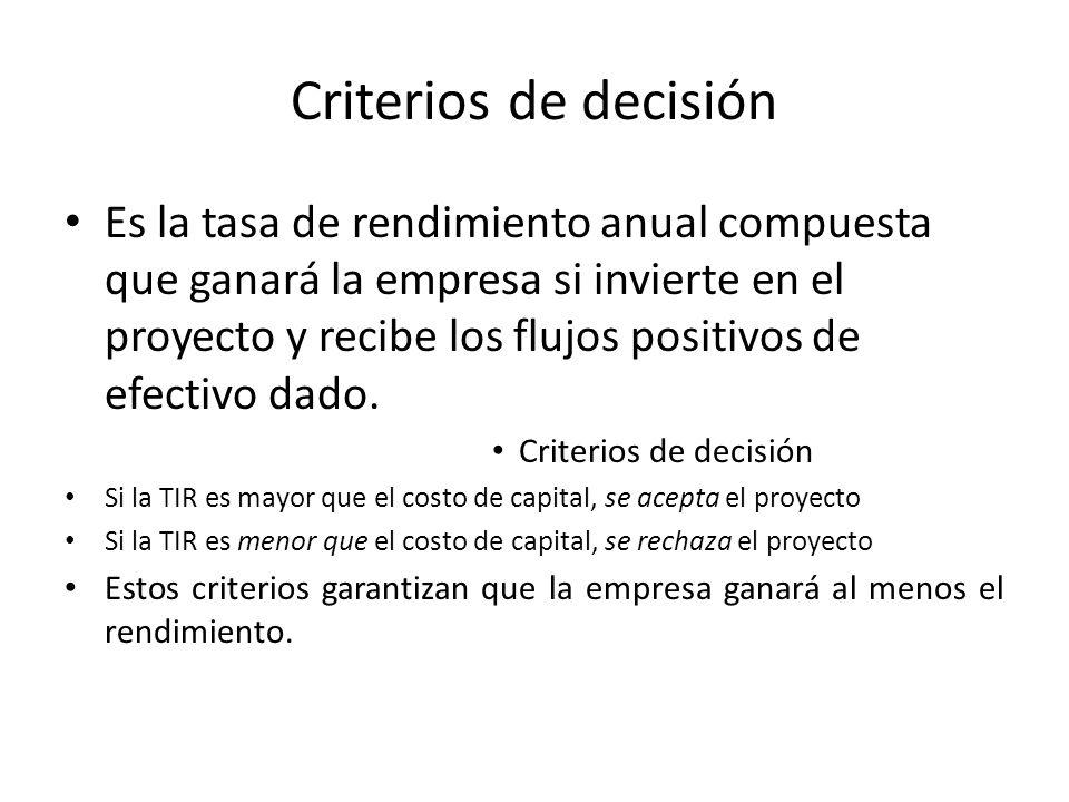 Criterios de decisión Es la tasa de rendimiento anual compuesta que ganará la empresa si invierte en el proyecto y recibe los flujos positivos de efectivo dado.