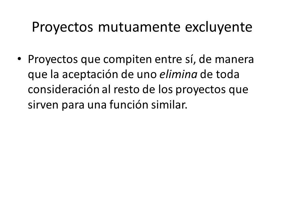 Proyectos mutuamente excluyente Proyectos que compiten entre sí, de manera que la aceptación de uno elimina de toda consideración al resto de los proyectos que sirven para una función similar.