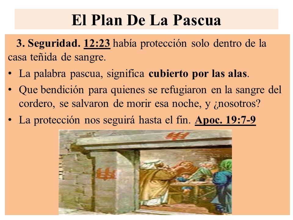 El Plan De La Pascua 3. Seguridad. 12:23 había protección solo dentro de la casa teñida de sangre. La palabra pascua, significa cubierto por las alas.
