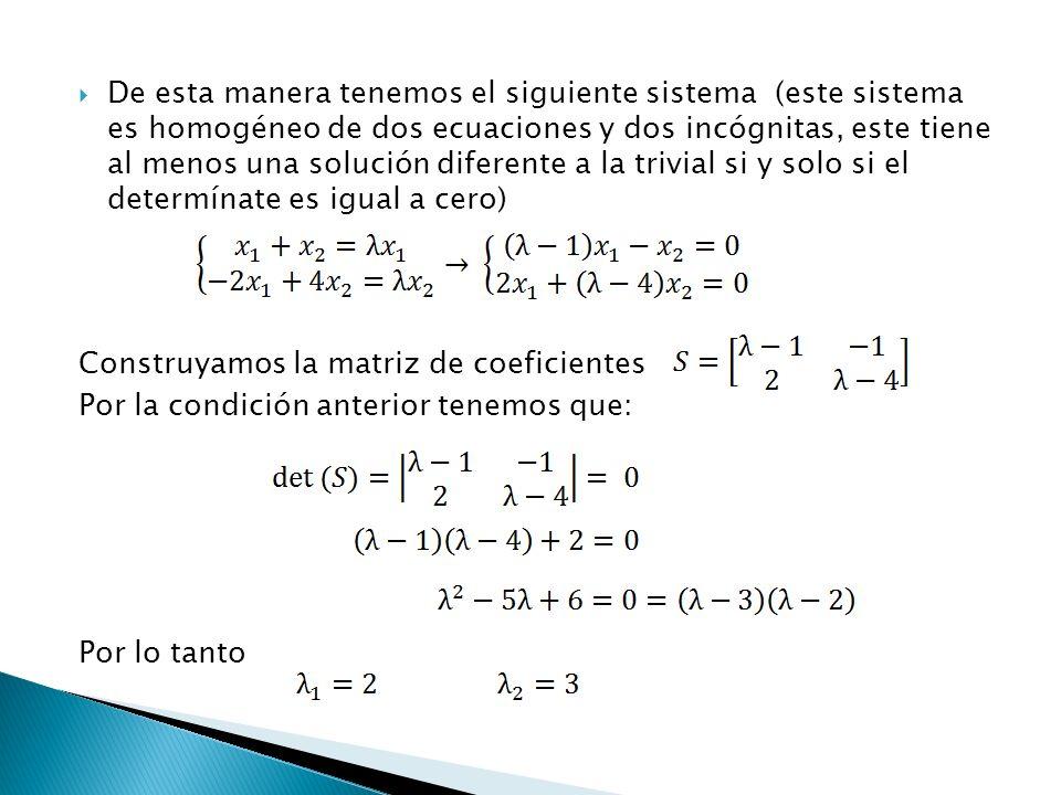 De esta manera tenemos el siguiente sistema (este sistema es homogéneo de dos ecuaciones y dos incógnitas, este tiene al menos una solución diferente