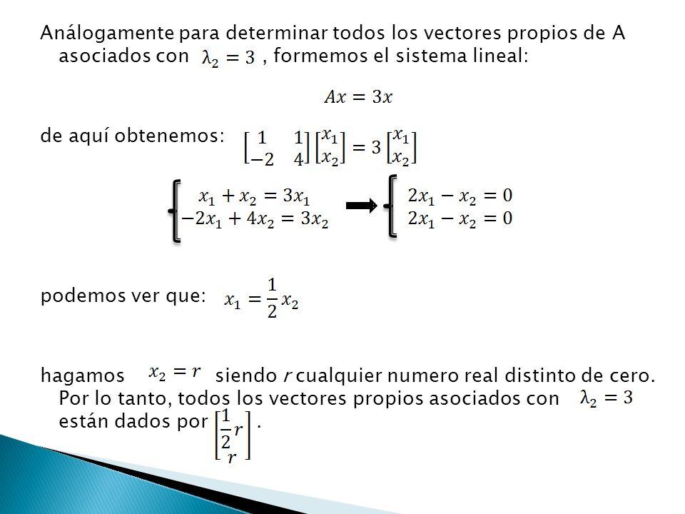 Análogamente para determinar todos los vectores propios de A asociados con, formemos el sistema lineal: de aquí obtenemos: podemos ver que: hagamos si