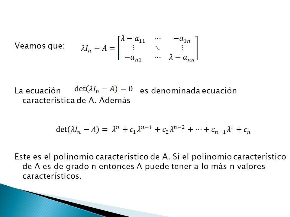 Veamos que: La ecuación es denominada ecuación característica de A. Además Este es el polinomio característico de A. Si el polinomio característico de