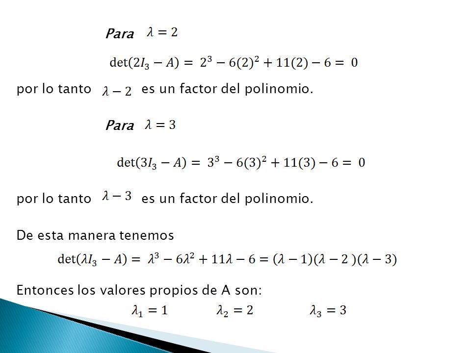 Para por lo tanto es un factor del polinomio. Para por lo tanto es un factor del polinomio. De esta manera tenemos Entonces los valores propios de A s