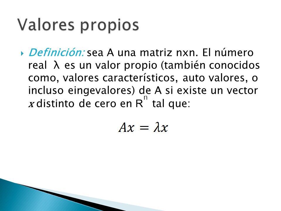 Definición: sea A una matriz nxn. El número real λ es un valor propio (también conocidos como, valores característicos, auto valores, o incluso eingev