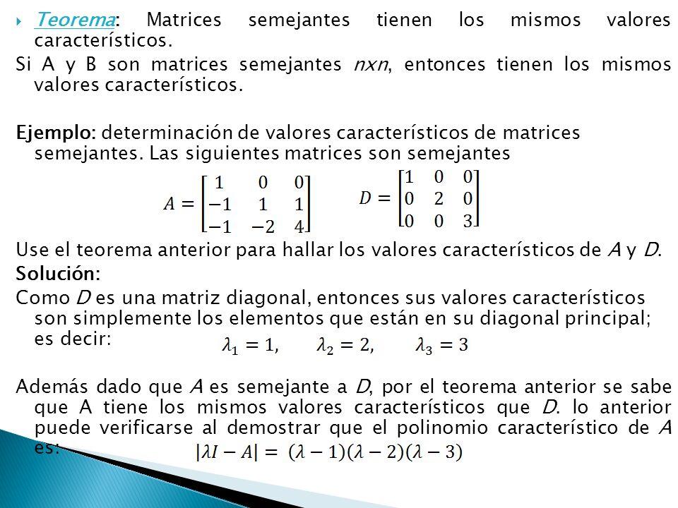 Teorema: Matrices semejantes tienen los mismos valores característicos. Si A y B son matrices semejantes nxn, entonces tienen los mismos valores carac