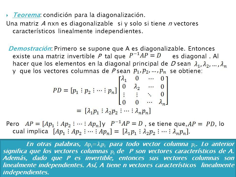 Teorema: condición para la diagonalización. Una matriz A nxn es diagonalizable si y solo si tiene n vectores característicos linealmente independiente