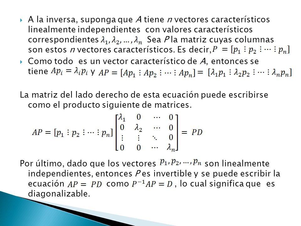A la inversa, suponga que A tiene n vectores característicos linealmente independientes con valores característicos correspondientes Sea P la matriz c