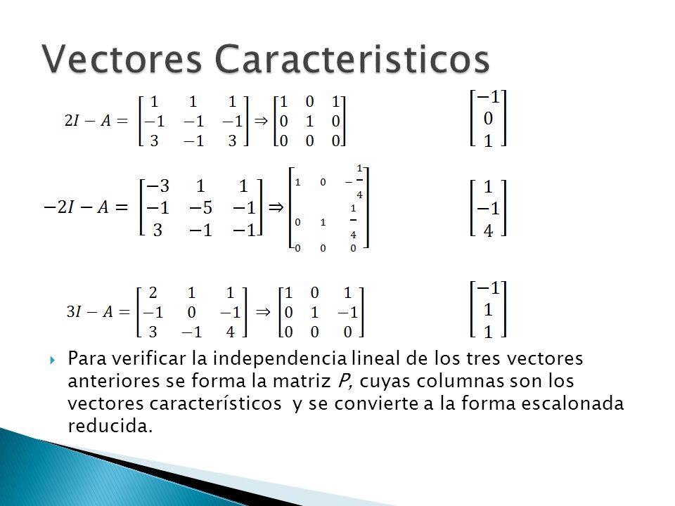 Para verificar la independencia lineal de los tres vectores anteriores se forma la matriz P, cuyas columnas son los vectores característicos y se conv