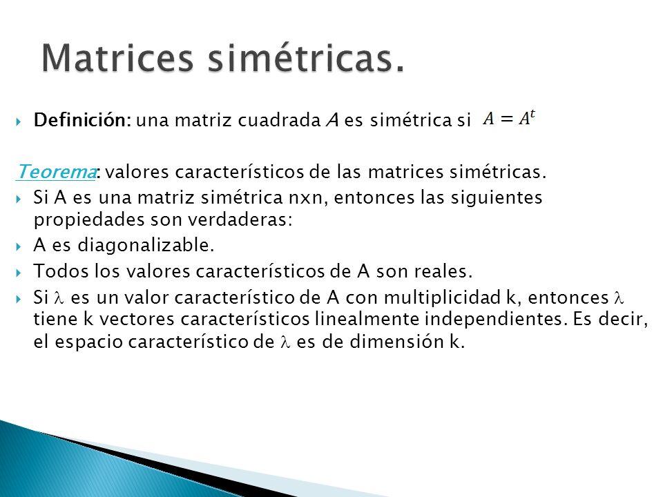 Definición: una matriz cuadrada A es simétrica si Teorema: valores característicos de las matrices simétricas. Si A es una matriz simétrica nxn, enton
