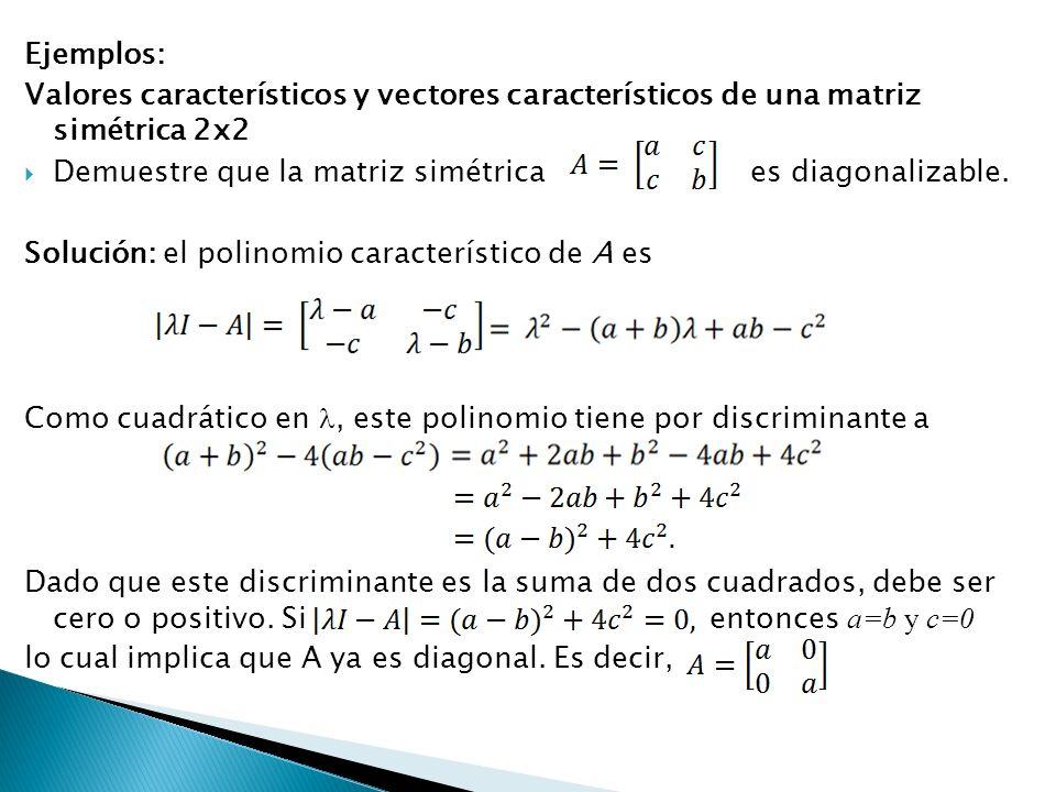 Ejemplos: Valores característicos y vectores característicos de una matriz simétrica 2x2 Demuestre que la matriz simétricaes diagonalizable. Solución: