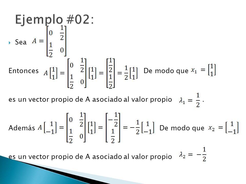 Sea Entonces De modo que es un vector propio de A asociado al valor propio. Además De modo que es un vector propio de A asociado al valor propio