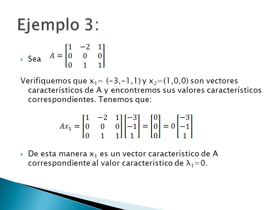Sea Verifiquemos que x 1 = (-3,-1,1) y x 2 =(1,0,0) son vectores característicos de A y encontremos sus valores característicos correspondientes. Tene