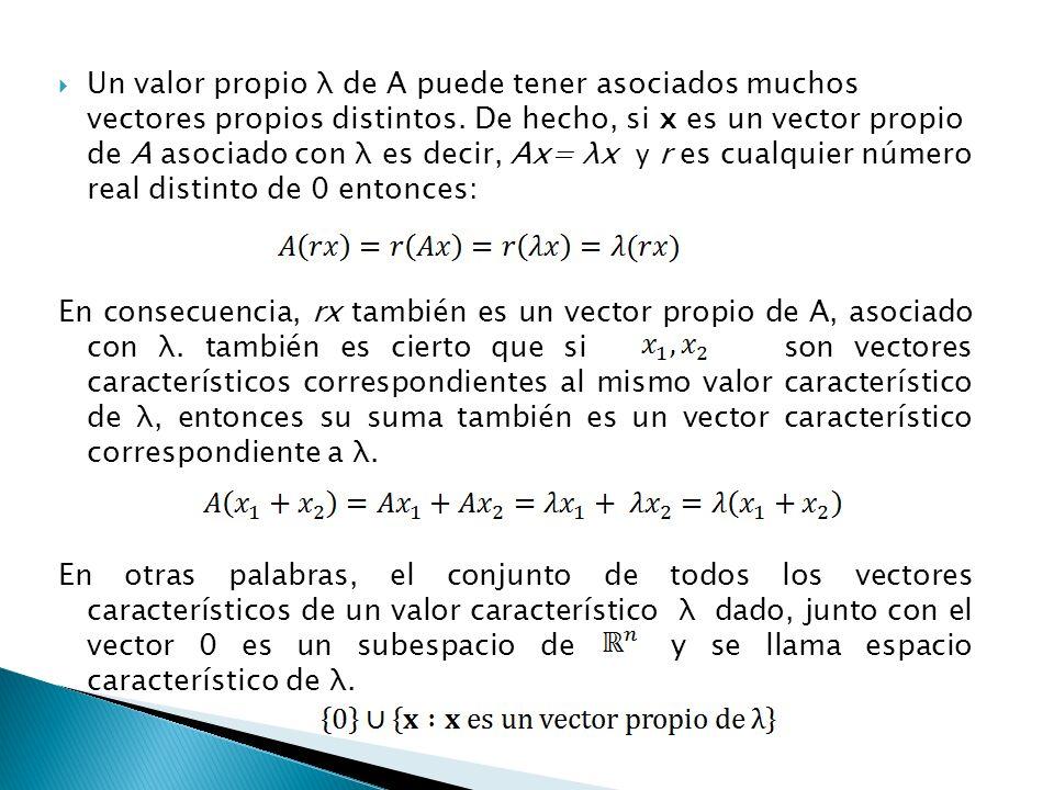 Sea Queremos determinar los valores propios de A y sus vectores propios asociados, es decir, todos los λ reales y los x vectores no nulos tales que se cumpla: Tomemos Así tenemos que: