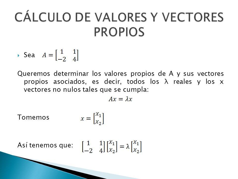 De esta manera tenemos el siguiente sistema (este sistema es homogéneo de dos ecuaciones y dos incógnitas, este tiene al menos una solución diferente a la trivial si y solo si el determínate es igual a cero) Construyamos la matriz de coeficientes Por la condición anterior tenemos que: Por lo tanto